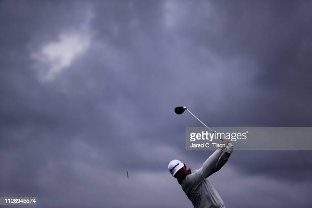 Chez Reavie plays his shot from the 11th tee during the third round of the Waste Management Phoenix Open at TPC Scottsdale on February 02 2019 in...