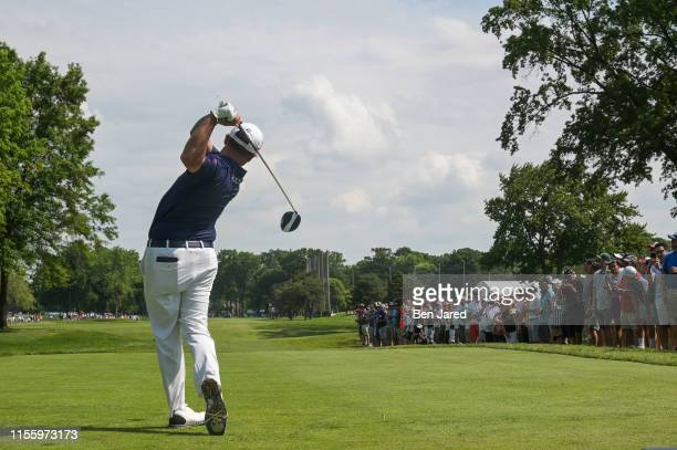 Chez Reavie tees off on the fourth tee during the second round of the Rocket Mortgage Classic at Detroit Golf Club on June 28, 2019 in Detroit,...