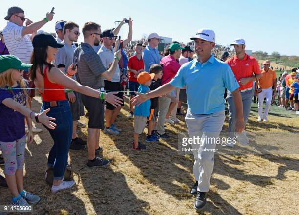 Chez Reavie walks to the tee on the seventh hole during the final round of the Waste Management Phoenix Open at TPC Scottsdale on February 4 2018 in...