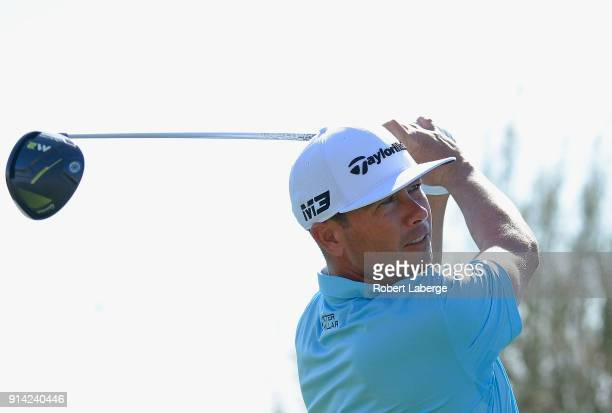 Chez Reavie watches his tee shot on the third hole during the final round of the Waste Management Phoenix Open at TPC Scottsdale on February 4 2018...