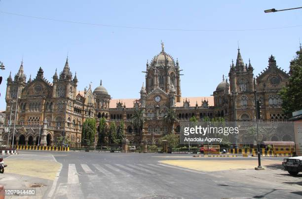 Chhatrapati Shivaji Terminus is seen with empty roads in Mumbai as Prime Minister Narendra Modi urged a countrywide public curfew starting from 7 am...