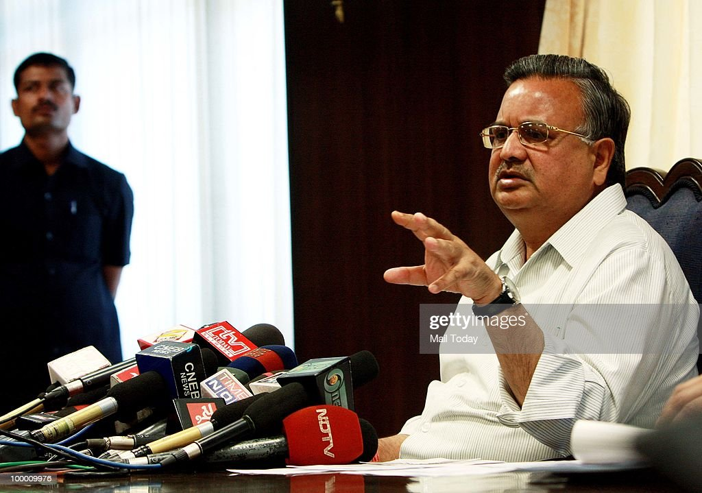 Chhattisgarh Chief Minister Raman Singh addresses a press conference in New Delhi on May 19, 2010. Terming Naxals as the biggest terrorists, Chhattisgarh Chief Minister Raman Singh said there cannot be a 'soft line' to deal with Maoists.