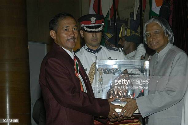 Chhering Norbu Bodh Receiving the Tenzing Norgay National Adventure Award from APJ Abdul Kalam President of India at Sports and Adventure Awards2005...