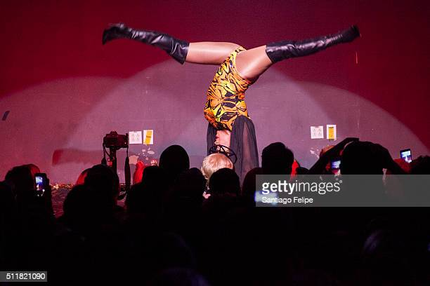 Chi Chi DeVayne performs onstage during Logo's RuPaul's Drag Race Season 8 Premiere at Stage 48 on February 22 2016 in New York City