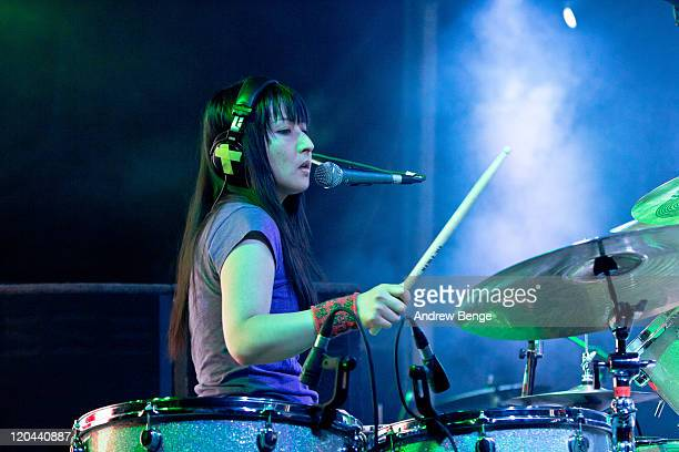 Chi Fukami Taylor of The Go Team performs on stage during the first day of YNot Festival 2011 on August 5 2011 in Matlock United Kingdom