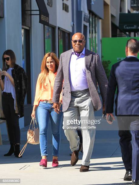 Chi McBride and his wife Julissa Marquez are seen on February 14 2017 in Los Angeles California