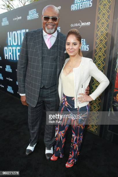 Chi McBride and Julissa McBride attend Global Road Entertainment's Hotel Artemis premiere at Regency Village Theatre on May 19 2018 in Westwood...