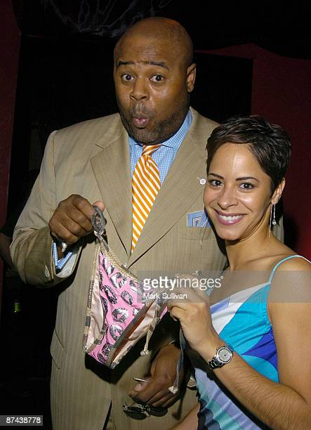 Chi McBride holds a pair of She She New York Swimsuit next to Julissa Marquez
