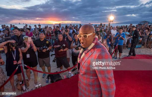 Chi McBride who plays the part of Cpt Lou Grover poses for a picture on the red carpet at the eighth annual Sunset on the Beach event where thousands...