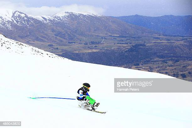 Chi Won Lee of Korea competes in the Men Slalom LW11 in the IPC Alpine Adaptive Slalom Southern Hemisphere Cup during the Winter Games NZ at Coronet...