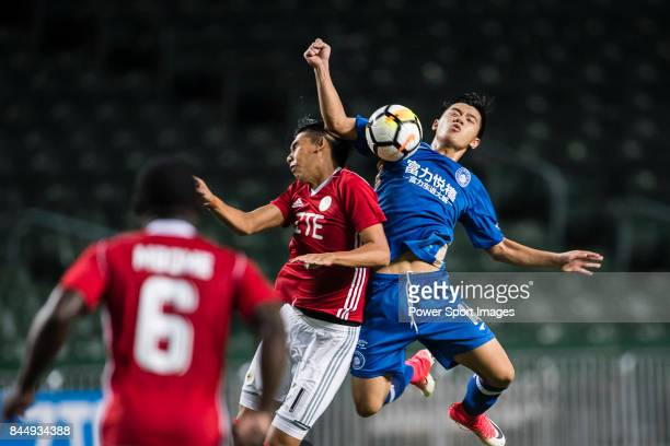 Chi Yung Cheung of Hong Kong Pegasus fights for the ball with Jiajie Zhang RF FC during the Premier League week two match between Hong Kong Pegasus...