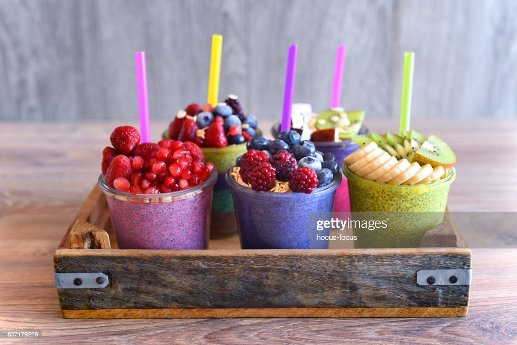 Chia and fruit smoothie healthy and sugarfree food : Stock Photo