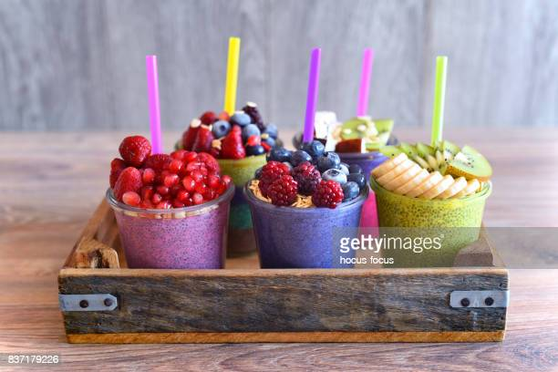 chia and fruit smoothie healthy and sugarfree food - protein stock pictures, royalty-free photos & images