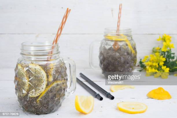 Chia drink with slices of lemon