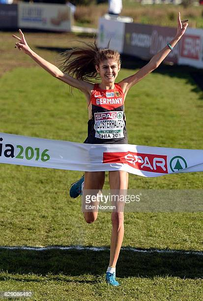 Chia Italy 11 December 2016 Konstanze Klosterhalfen of Germany celebrates winning the Women's U20 race during the 2016 Spar European Cross Country...