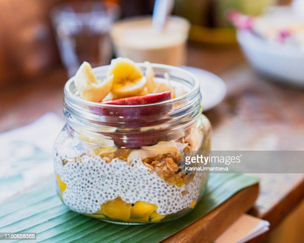 Chia pudding with fruits and granola