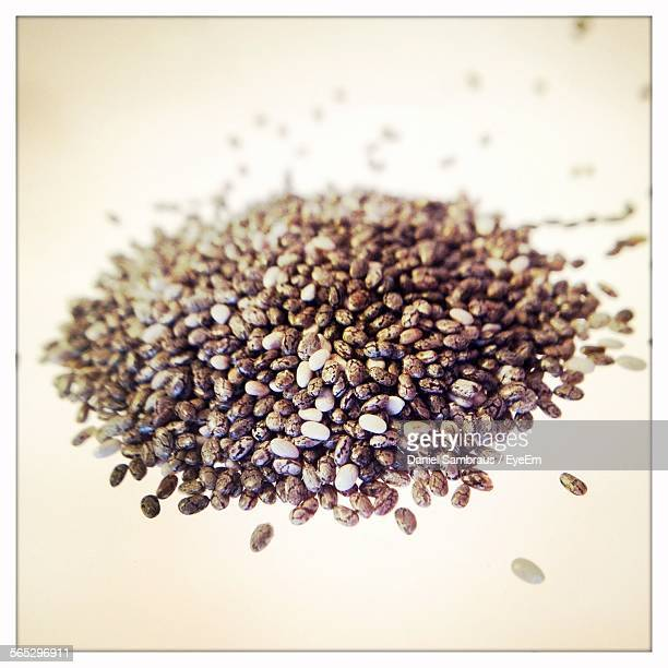 Chia Seeds Against White Background
