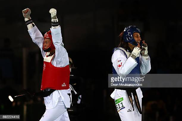 ChiaChia Chuang of Chinese Taipei celebrates defeating Melissa Pagnotta of Canada in the Women's Taekwondo 67kg Repechage on Day 14 of the Rio 2016...