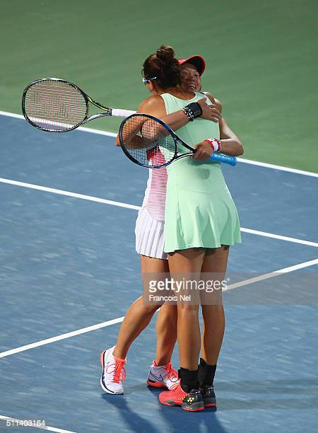 Chia-Jung Chaung of Taiwan and Darija Jurak of Croatia celebrate defeating Caroline Garcia of France and Kristina Mladenovic of France during the...