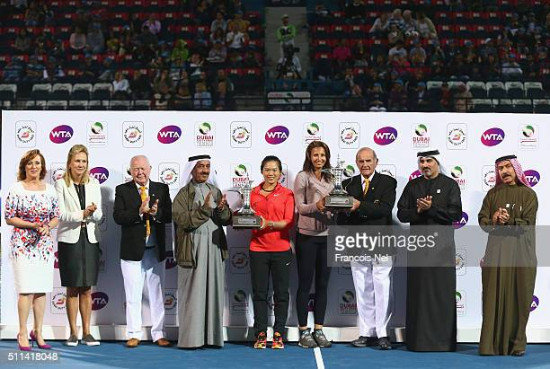 ChiaJung Chaung of Taiwan and Darija Jurak of Croatia holds the trophy after defeating Caroline Garcia of France and Kristina Mladenovic of France...