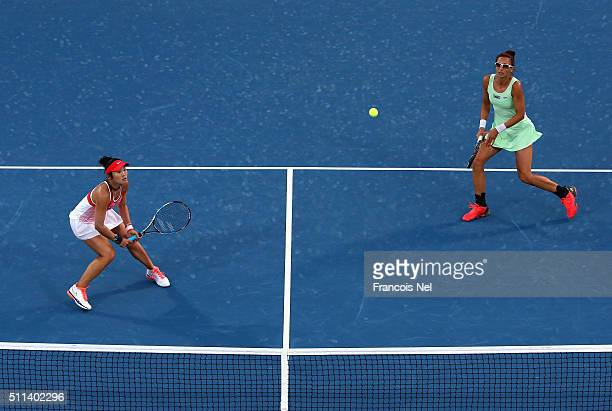 Chia-Jung Chaung of Taiwan and Darija Jurak of Croatia in action against Caroline Garcia of France and Kristina Mladenovic of France during the...