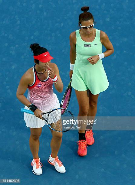 ChiaJung Chaung of Taiwan and Darija Jurak of Croatia in action against Caroline Garcia of France and Kristina Mladenovic of France during the...