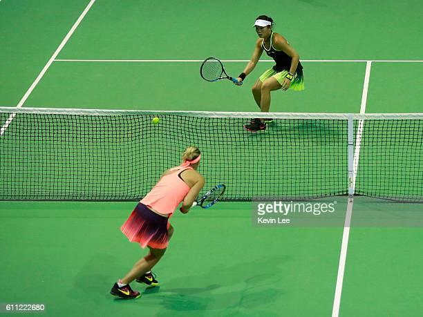 ChiaJung Chuang of Taipei and Kateryna Bondarenko of Ukraine in action against Lucie Hradecka of Czech Republic and Andrea Hlavackova of Czech...