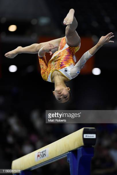 Chiaki Hatakeda of Japan competes on the Beam during day one of the Artistic Gymnastics NHK Trophy at Musashino Forest Sport Plaza on May 18 2019 in...