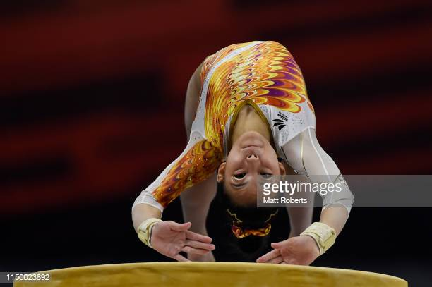 Chiaki Hatakeda of Japan competes on the Vault during day one of the Artistic Gymnastics NHK Trophy at Musashino Forest Sport Plaza on May 18 2019 in...