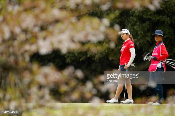 Chiaki Ishiyama of Japan watches on the 8th green during the final round of the Hanasaka Ladies Yanmar Golf Tournament at Biwako Country Club on...
