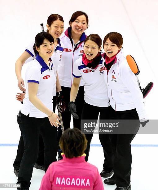 Chiaki Matsumura Emi Shimizu Satsuki Fujisawa Miyo Ichikawa Miyuki Sato welcome coach Hatomi Nagaoka of Chubu Electric Power Co to celebrate winning...