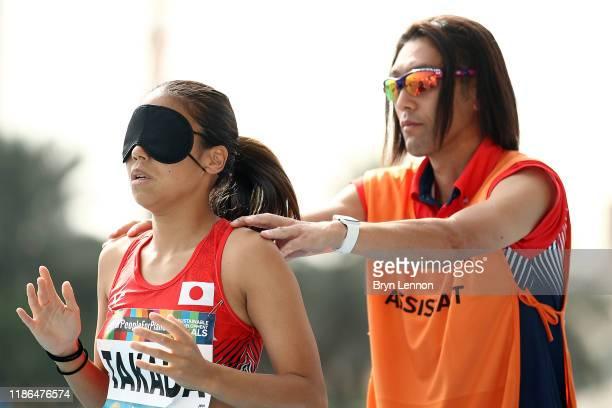 Chiaki Takada of Japan prepares to jump in the Women's Long Jump T11 on Day Three of the IPC World Para Athletics Championships 2019 Dubai on...