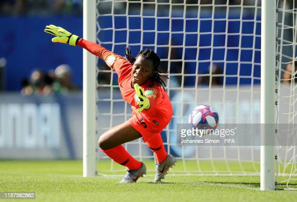 Chiamaka Nnadozie of Nigeria fails to save from Sara Daebritz of Germany , who scores Germany's second goal from a penalty during the 2019 FIFA...