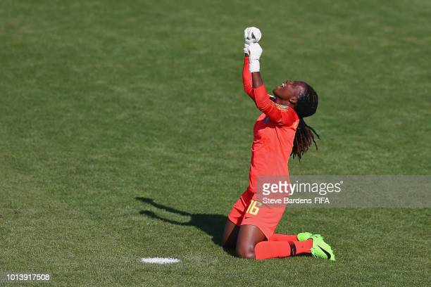 Chiamake Nnadozie of Nigeria celebrates at the final whistle during the FIFA U20 Women's World Cup France 2018 group D match between Haiti and...