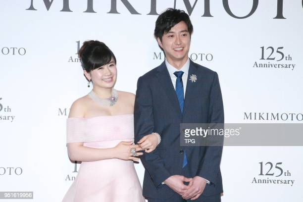 Chiang HungChieh and Fukuhara Ai attend MIKIMOTO 125th anniversary jewelry show on 26th April 2018 in Taipei Taiwan China