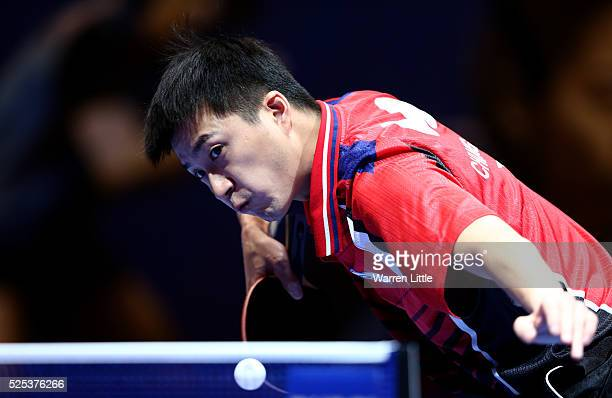 Chiang Hung-Chieh of Chinese Taipai in action against Jung Youngsik of Korea during day one of the Nakheel Table Tennis Asian Cup 2016 at Dubai World...