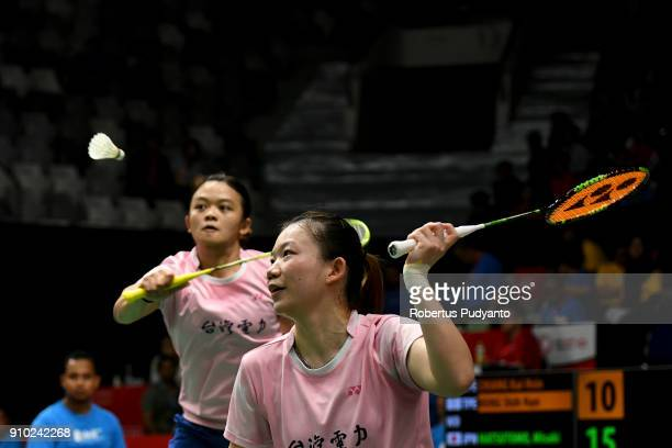 Chiang Kai Hsin and Hung Shih Han of Chinese Taipei compete against Misaki Matsutomo and Ayaka Takahashi of Japan during the Women's Doubles Round 16...