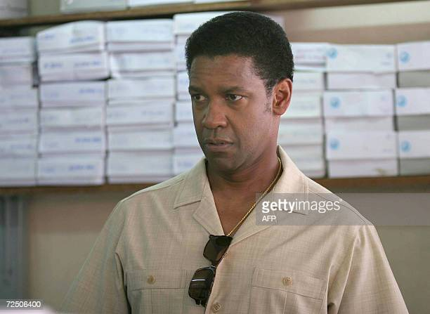Oscarwinning actor Denzel Washington is seen during a movie shoot American Gangster at a local market in Chiang mai province 11 November 2006...