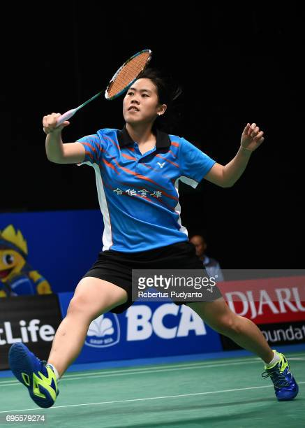 Chiang Mei Hui of Chinese Taipei competes against Soniia Cheah of Malaysia during Womens Single Round 1 match of the BCA Indonesia Open 2017 at...