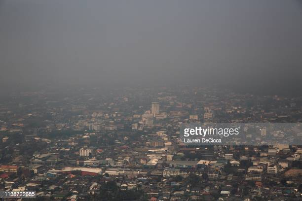 Chiang Rai city clouded by air pollution on April 19 2019 in Chiang Rai Thailand Thailand's Northern Provinces of Chiang Rai and Chiang Mai are...
