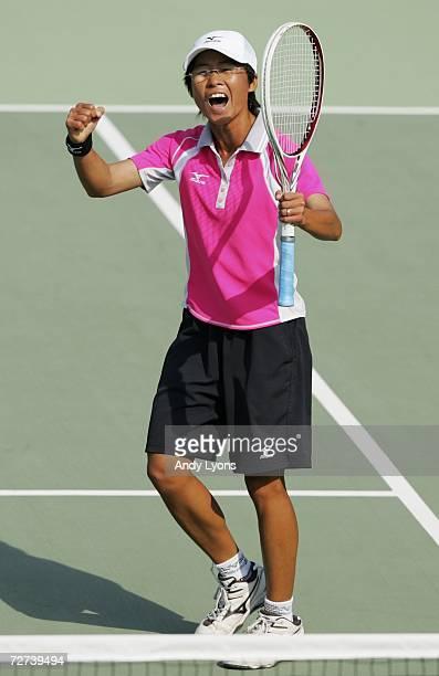 Chiang Wan Chi of Chinese Taipei celebrates her victory over Kim Ji Eun of the Republic of Korea in the Women's Soft Tennis Singles semi final match...