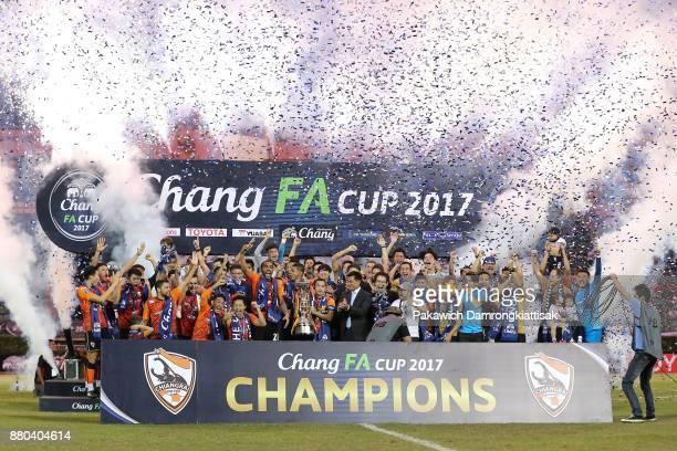 Chiangrai United players celebrates the Chang Thai FA Cup trophy during the Chang Thai FA Cup Final 2017 between Chiangrai United and Bangkok United...