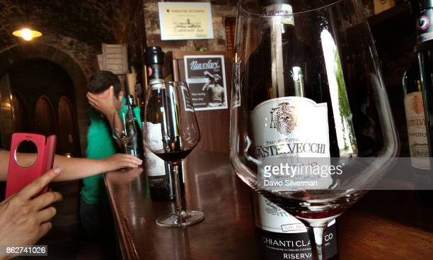 Chianti Classico Riserva a red wine made primarily from Sangiovese grapes are served during a tasting at Borgo Castelvecch winery on July 25 2015 in...
