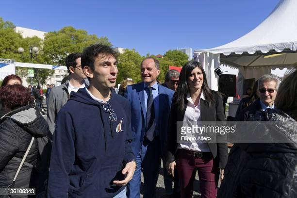Chiara Appendino and Guido Saracco attend Politecnico di Torino Orientati al Futuro Salone dell'Orientamento on April 8 2019 in Turin Italy