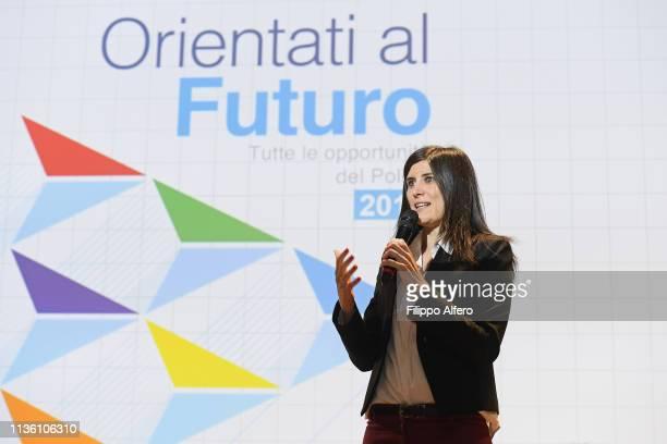 Chiara Appendino attends Politecnico di Torino Orientati al Futuro Salone dell'Orientamento on April 8 2019 in Turin Italy