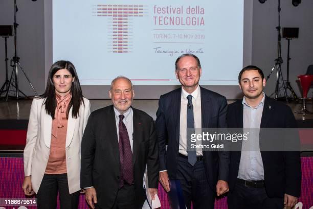 Chiara Appendino, Joseph Stiglitz , Guido Saracco, Alberto Sacco during of Laurea Honoris Causa Joseph Stiglitz on the Festival della Tecnologia on...