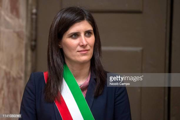 Chiara Appendino mayor of Turin looks on during the visit of Sultan III bin Muhammad alQasimi Sheikh of Sharjah guest city at the upcoming...