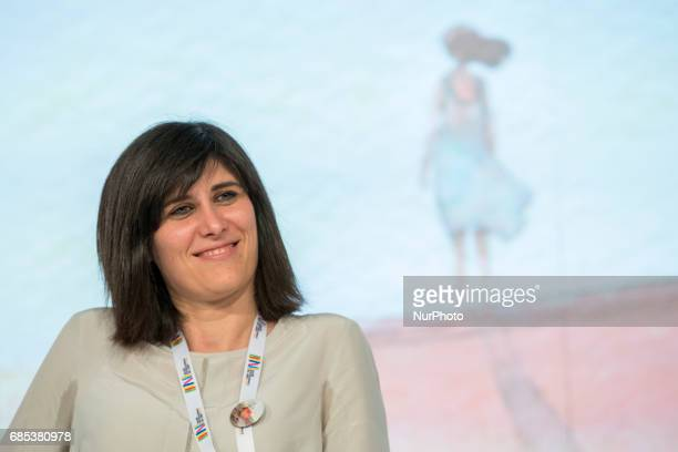 Chiara Appendino mayor of Turin speaks at conference about the future of italian school during First day at the Book Fair the international book's...