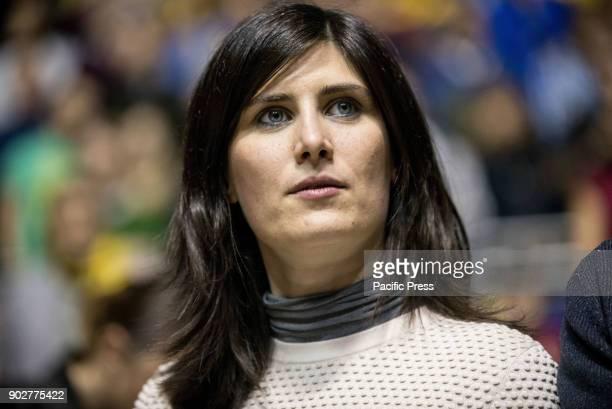Chiara Appendino the Major of Torino during the Serie A Basketball Match Fiat Torino Auxilium vs Basket Brecia Leonessa Fiat Torino Auxilum won 9586...