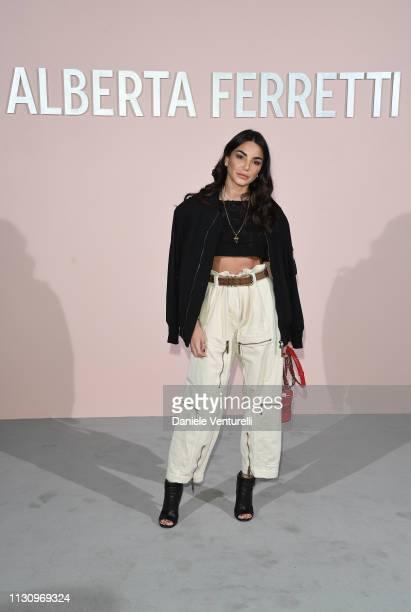 Chiara Biasi attends the Alberta Ferretti show at Milan Fashion Week Autumn/Winter 2019/20 on February 20 2019 in Milan Italy